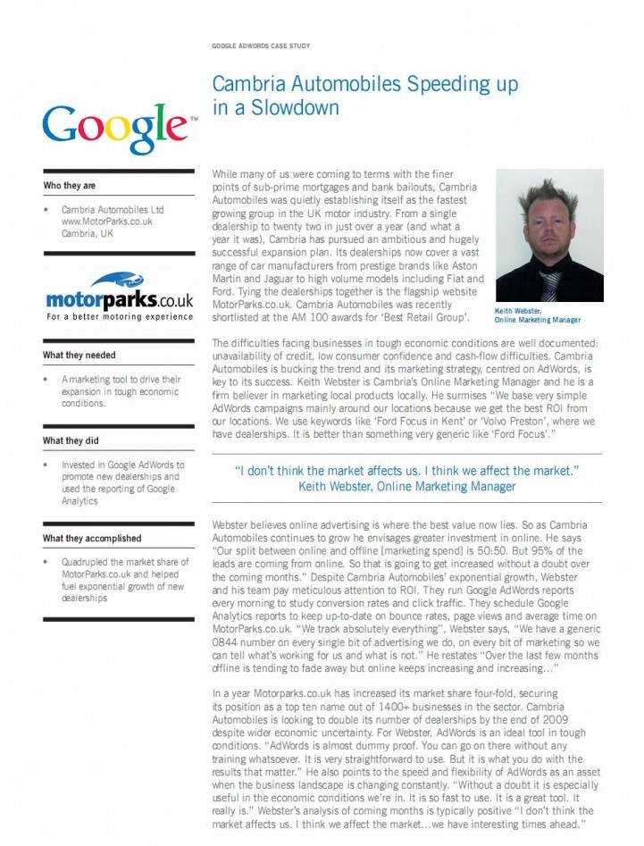 AdWords Case Study for Motorparks.co.uk
