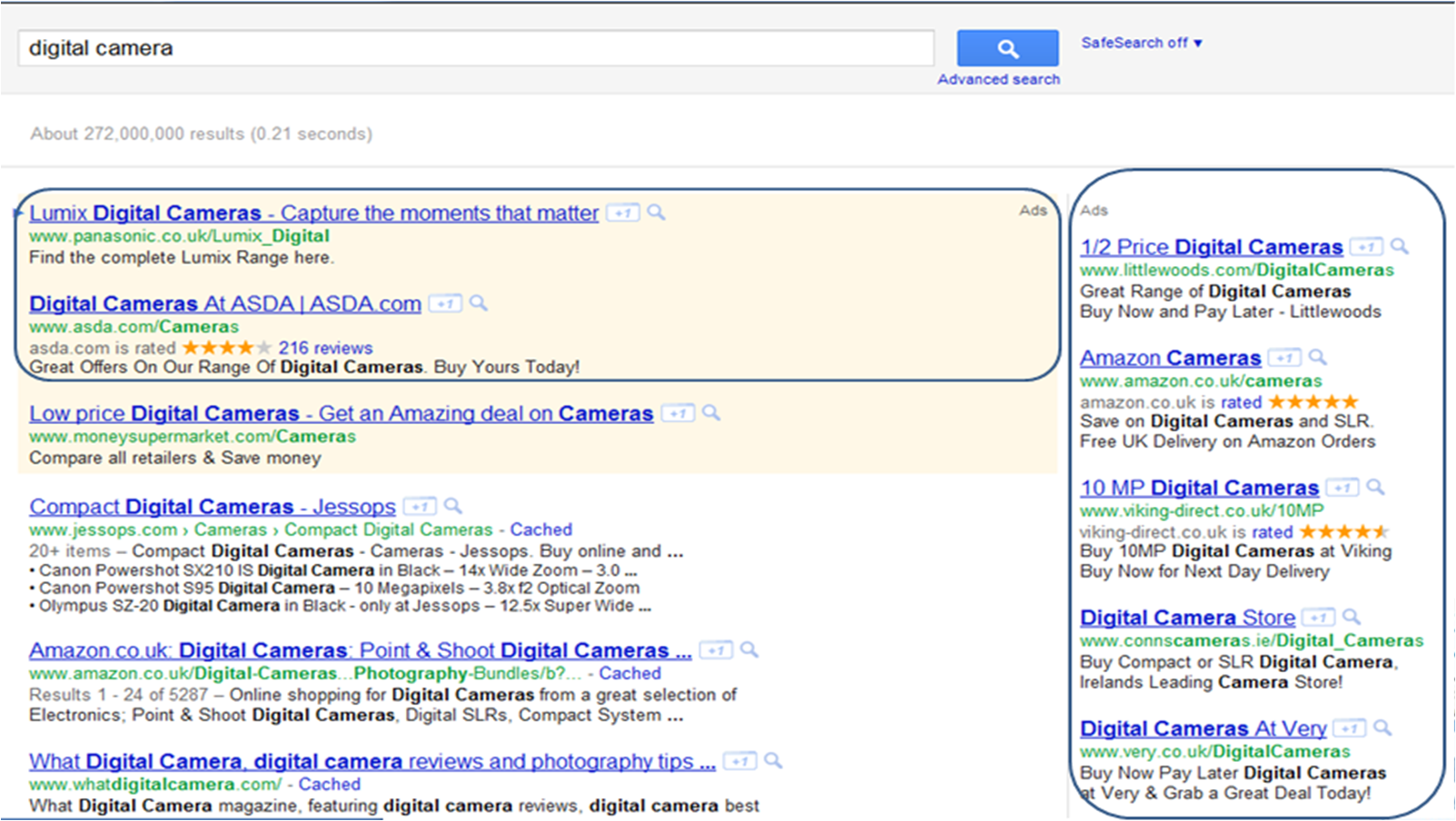 Google AdWords Ads Example Screenshot