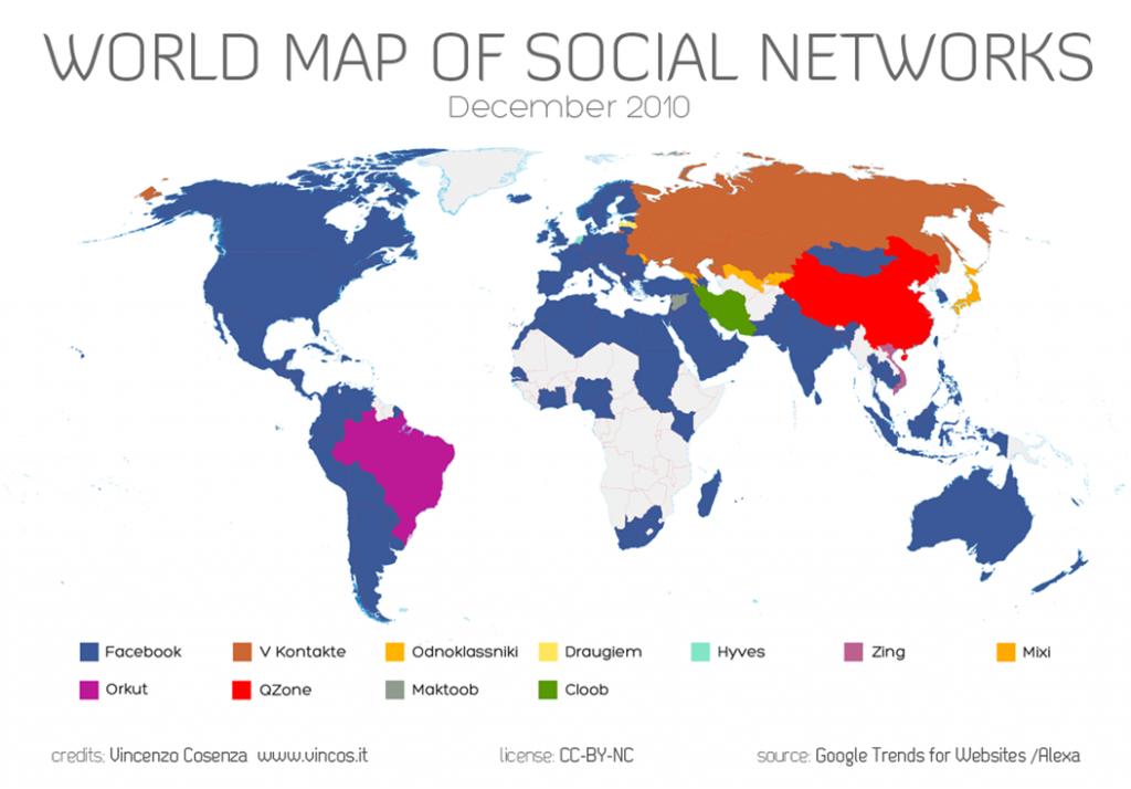 world map of social networks December 2010