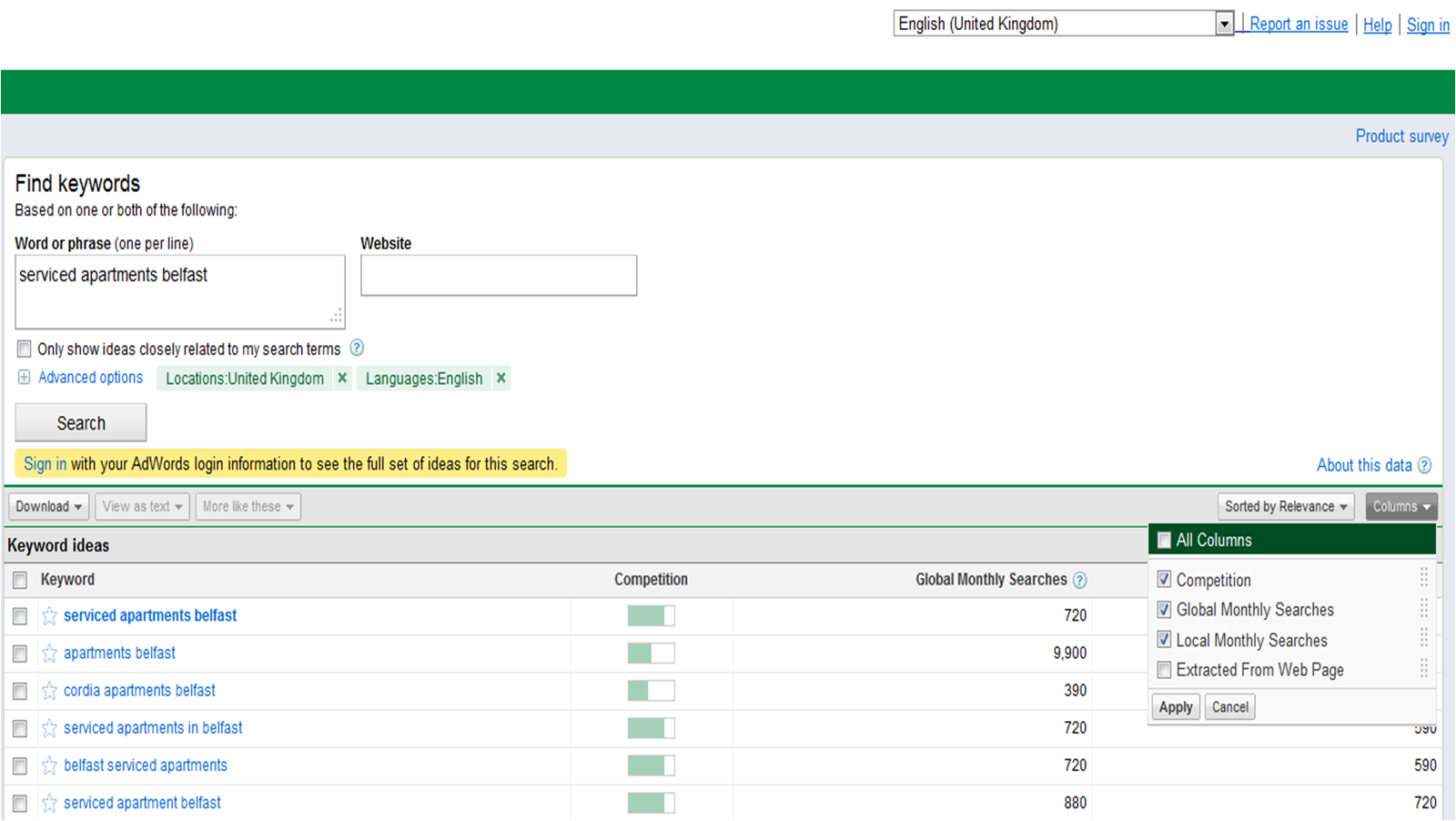 Google AdWords Keyword Tool missing Estimated CPC