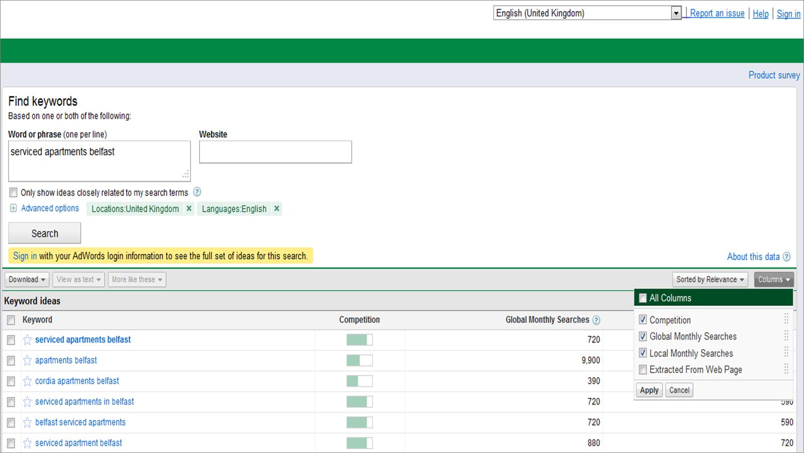 Google AdWords Keyword Tool missing Estimated CPC