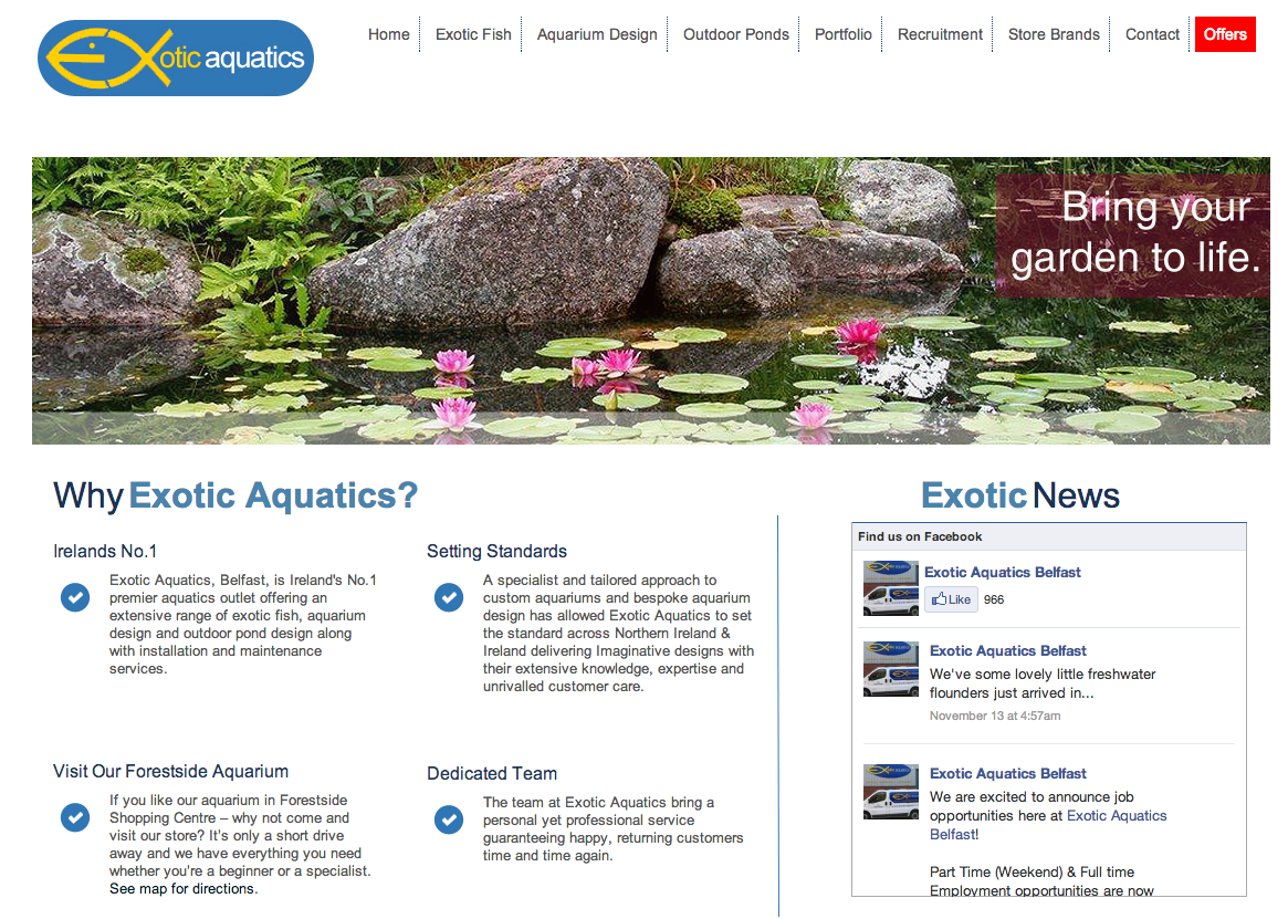 Screenshot of Exotic Aquatics Website