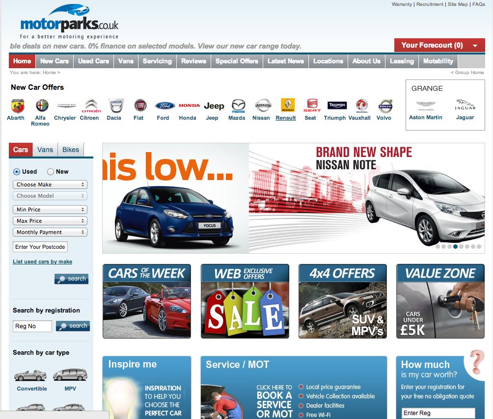 Screenshot of Motorparks Website