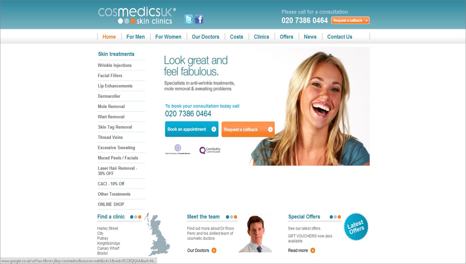 cosmedics.co.uk screenshot