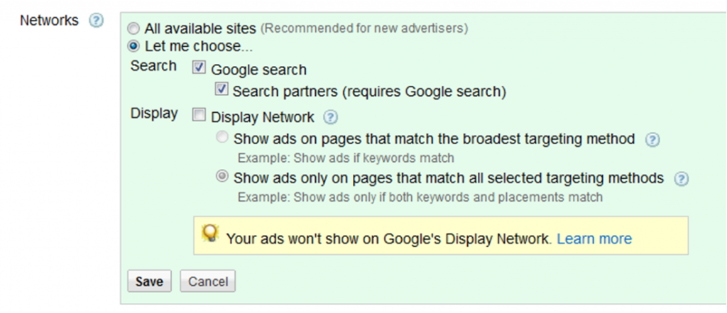 Google AdWords Display Network Campaign Settings