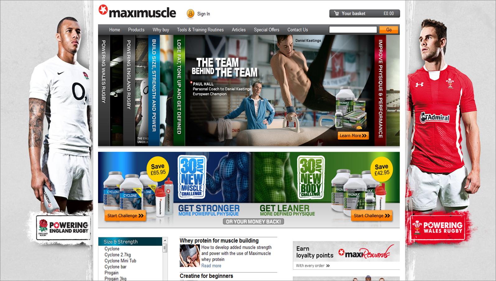 maximuscle.com screenshot