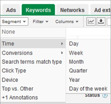 segment adwords data