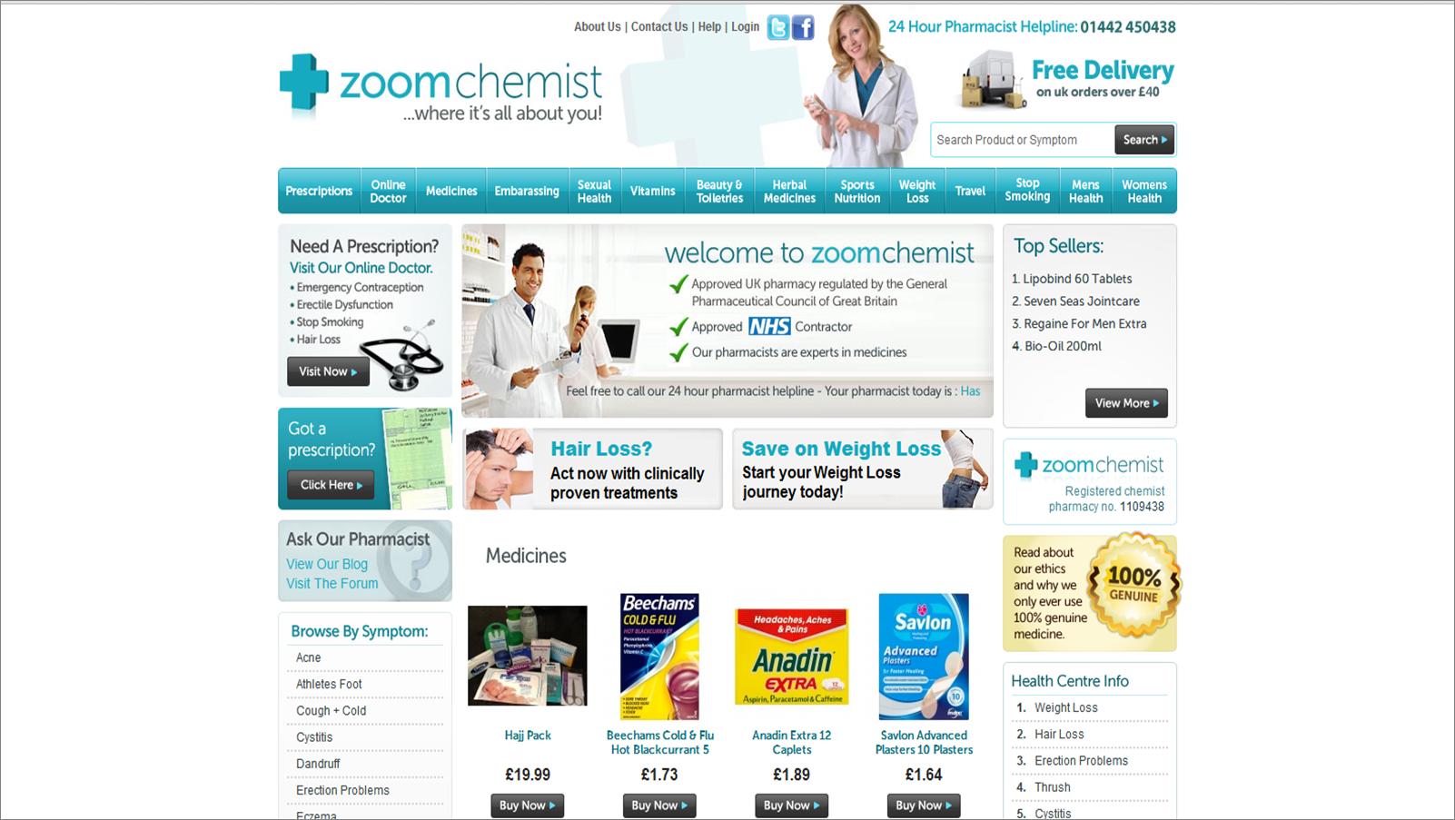 ZoomChemist.co.uk Screenshot