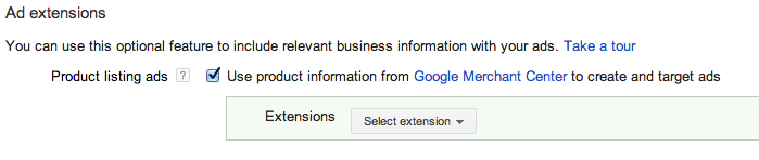 Adwords Google Merchant Centre Dropdown