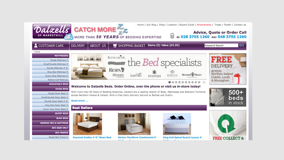 Armagh Beds Website Screenshot