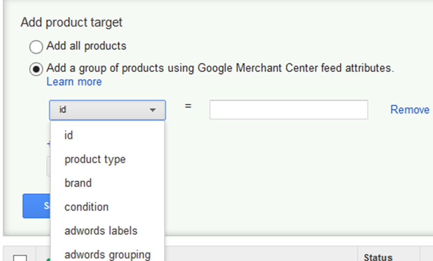 adwords pla campaign auto targets