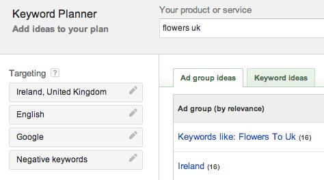Tabs available on the Googel Keyword Planner Tool