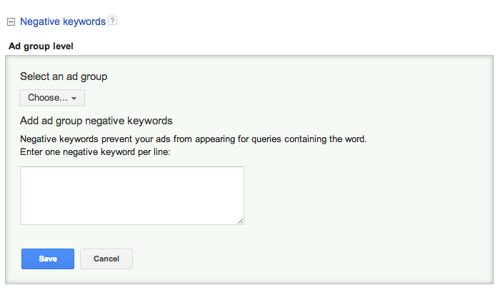 Input box for negative keywords