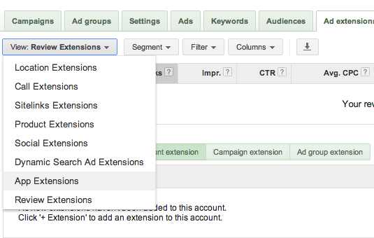 AdWords Extensions Options