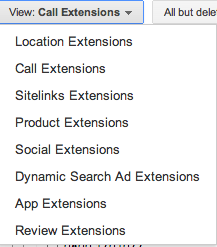 Dropdown of an AdWords Call Extension