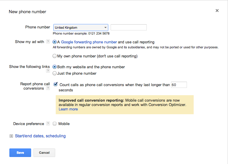 Google Adwords Call Extensions Options
