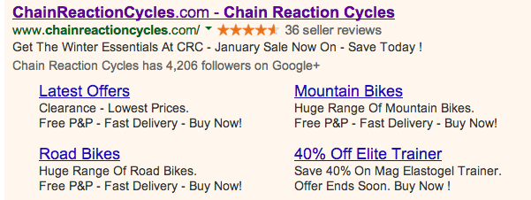 Chain Reaction Cycles Adwords Extensions