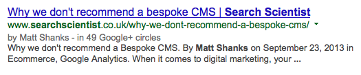 Example of Shorter Google Authorship