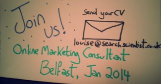 online marketing SEO job Belfast 2014 Search Scientist Ltd