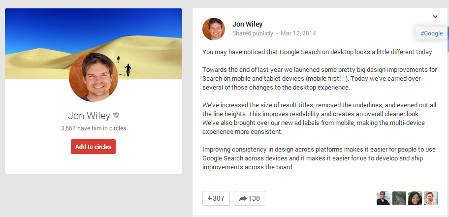 Jon Wiley the lead designer of Google Search
