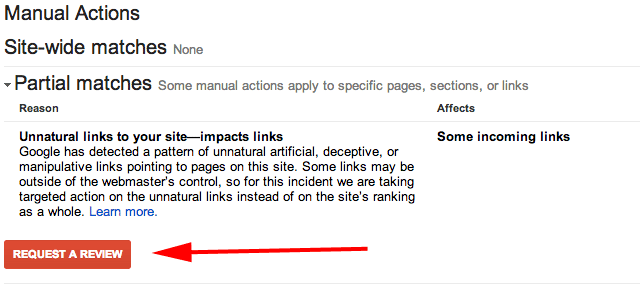 Example of Manual Actions Notification