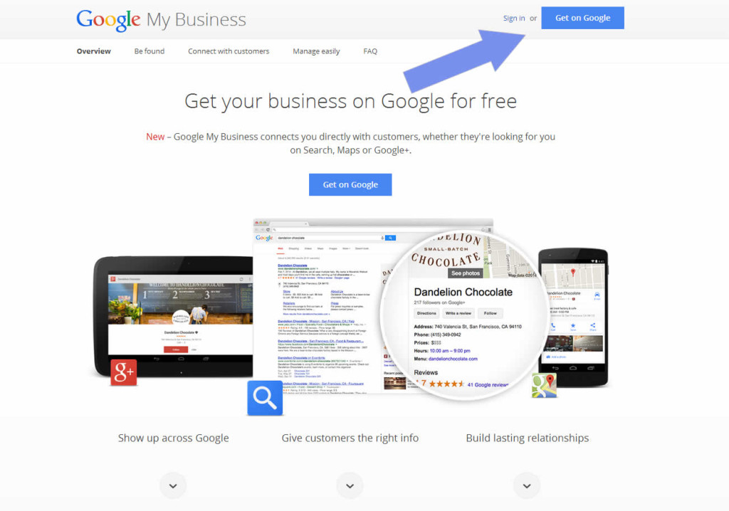 Google My Business Landing Page