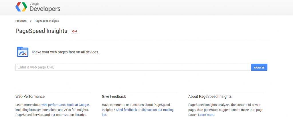 Google's Page Speed Insights tool