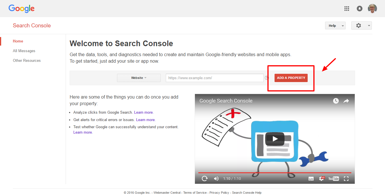 First steps on google search console for Search console
