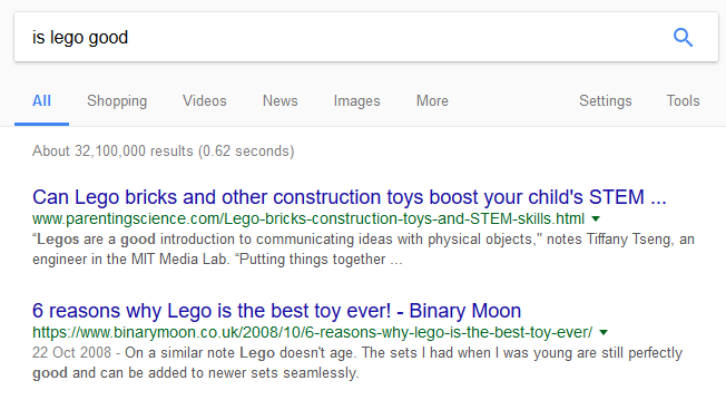 is lego good Google Search