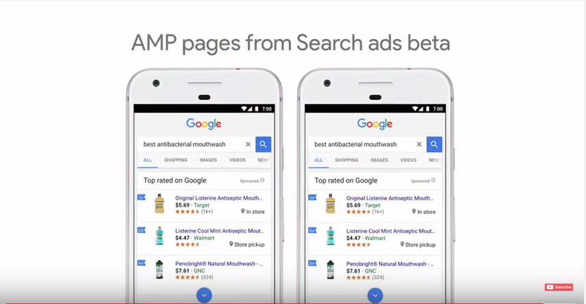 AMP pages from Search ads beta