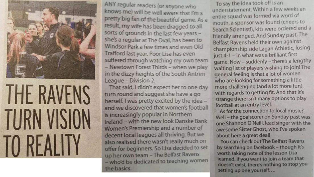 Belfast Ravens The Mirror November 2017